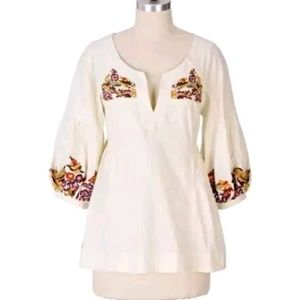 Anthropologie Lithe Embroidered Bird Top Tunic 8